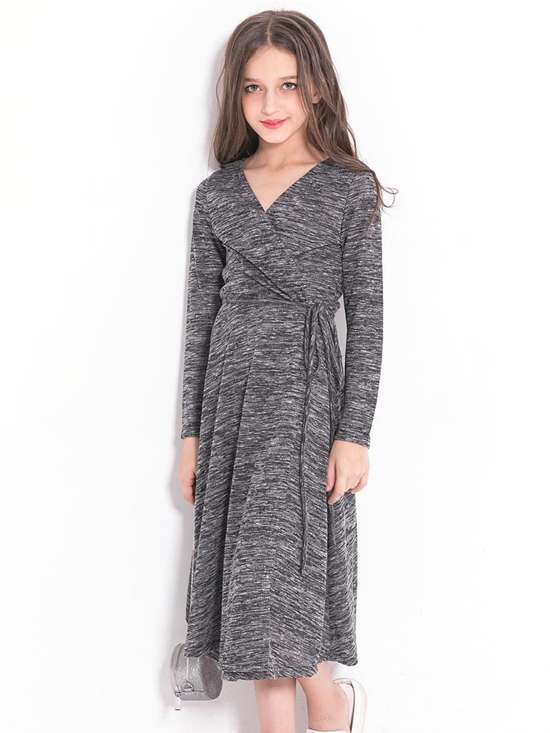 Ericdress V-Neck Long Sleeves Belt Knee-Length Pleated Girl's Dress