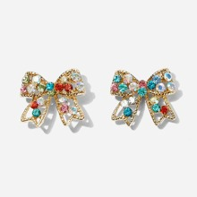 Rhinestone Decor Bow Stud Earrings 1pair