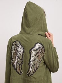 Contrast Sequin Wings Drawstring Waist Hooded Jacket