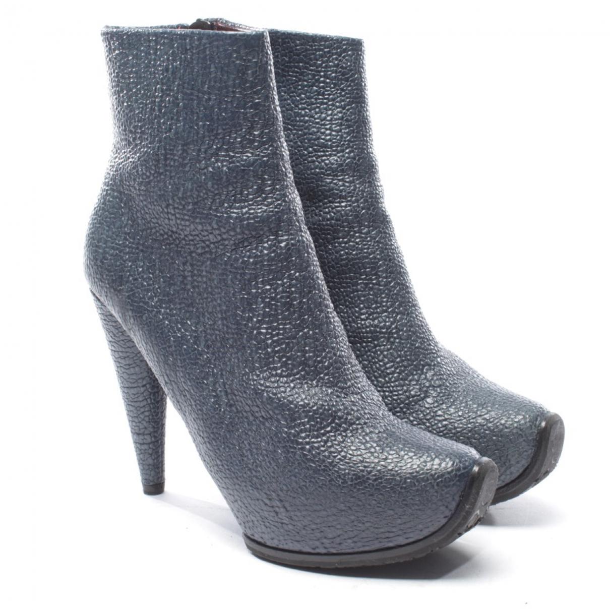 Acne Studios - Boots   pour femme en cuir - bleu