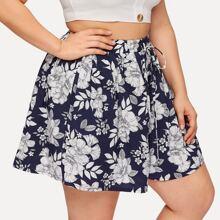 Ubergrosse Shorts mit Blumen Muster und Kordelzug um die Taille
