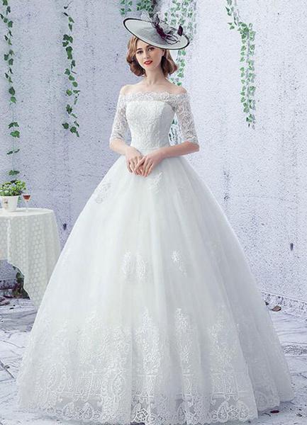 Milanoo -Vestido de boda vestido Ivory de encaje media manga piso novia vestido
