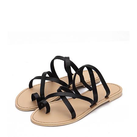 Yoins Black Cross Straps Fashion Style Flat Slippers