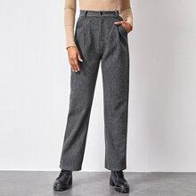 Pantalones de pierna recta fruncido