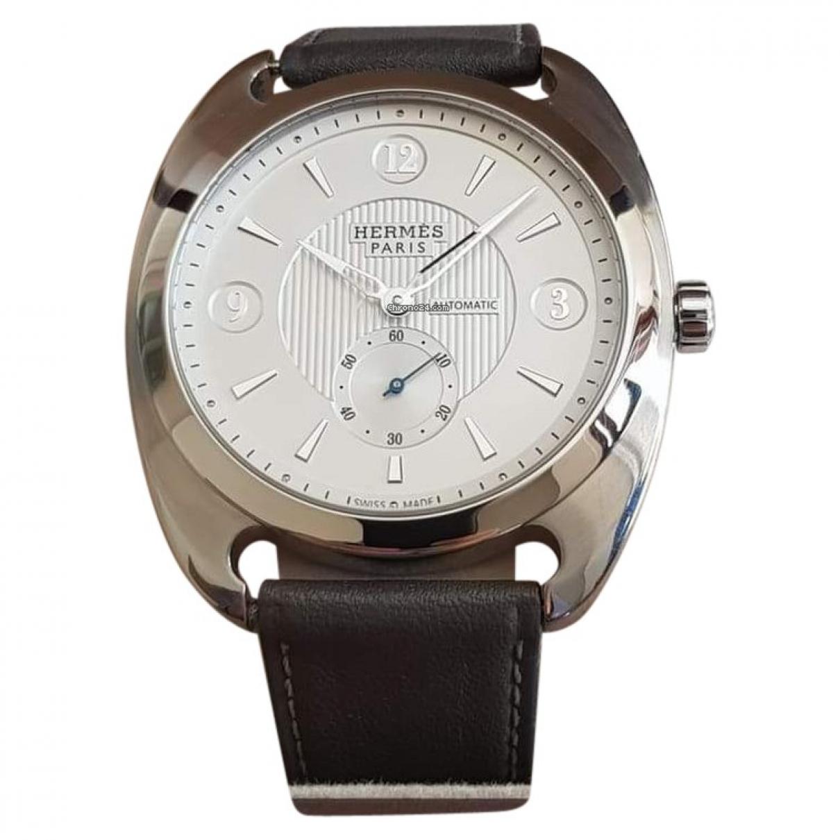 Hermes Dressage Uhr in  Weiss Stahl