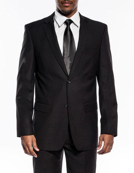 Mens black slim fit wedding prom suit pick stitching