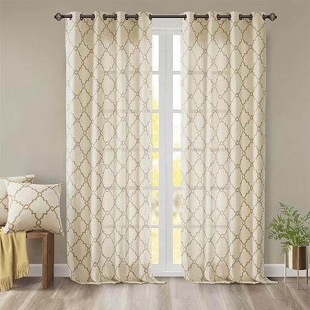 Madison Park Westmont Fretwork Print Light-Filtering Grommet-Top Single Curtain Panel, One Size , Beige