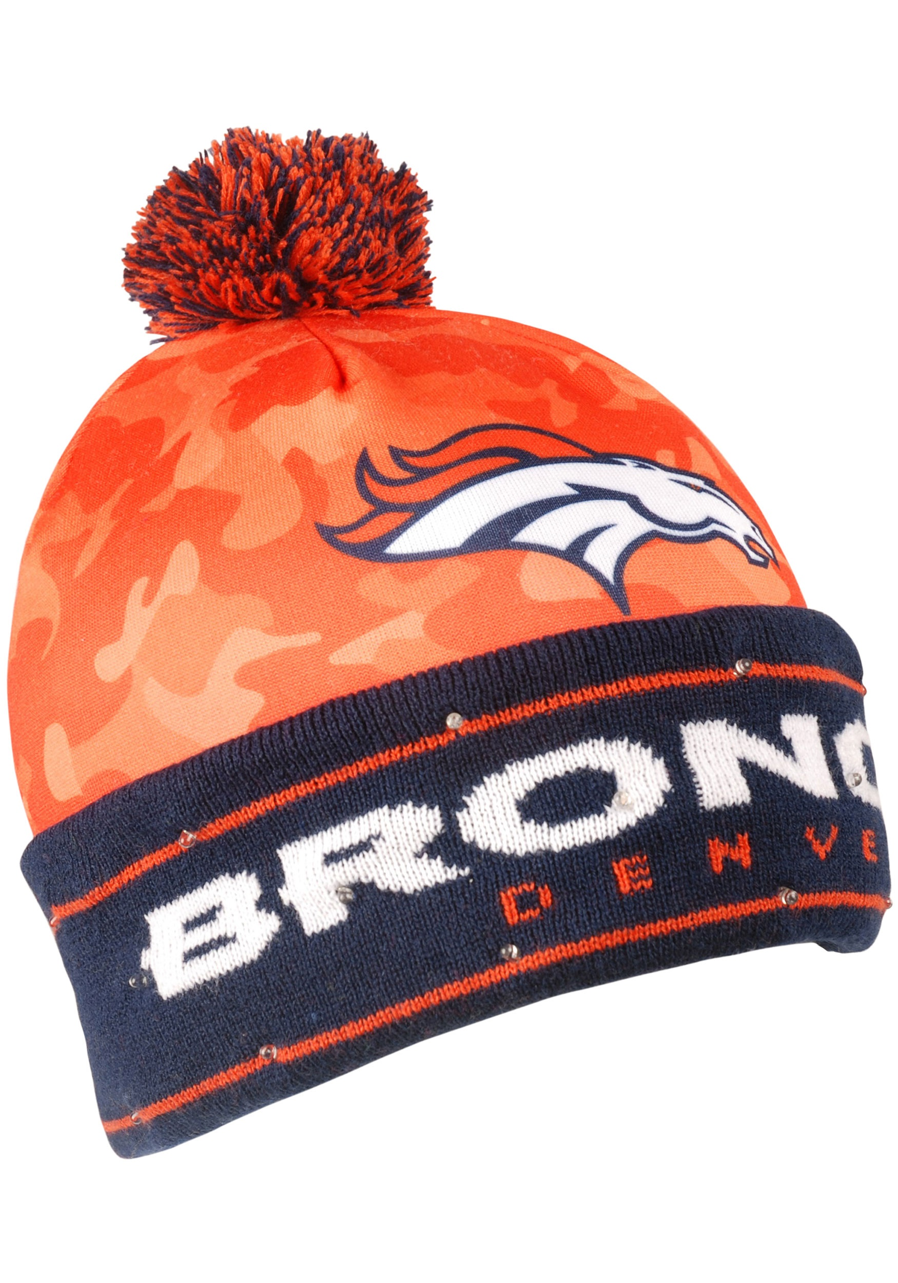 NFL Denver Broncos Camouflage Light Up Stocking Hat