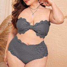 Plus Gingham Scalloped Trim Bandeau Bikini Swimsuit