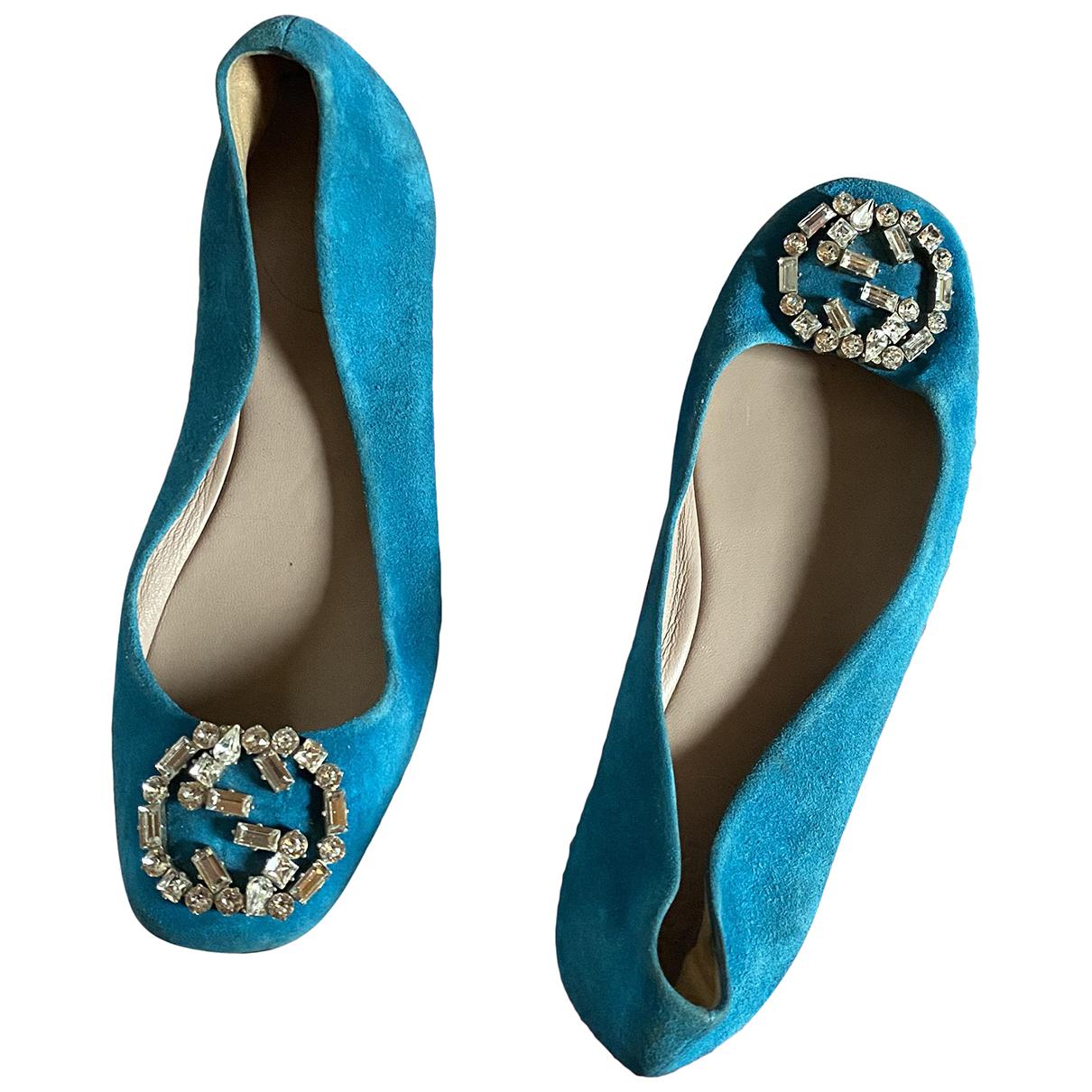 Gucci N Blue Suede Ballet flats for Women 37 EU