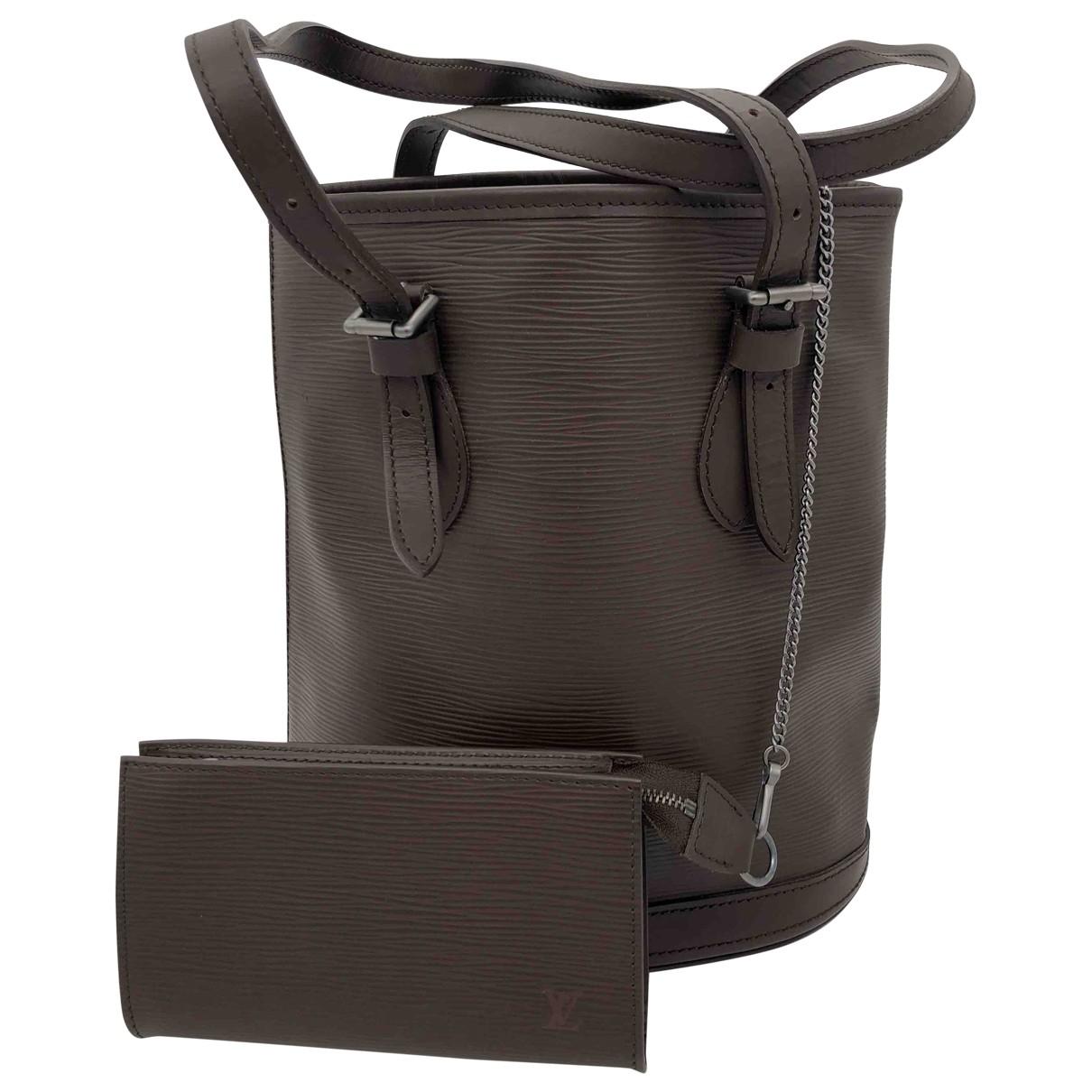 Louis Vuitton - Sac a main Bucket  pour femme en cuir - marron