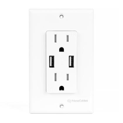 3.1A double port USB intelligent de recharge rapide, prise double décora inviolable - PrimeCables® - 1/paquet