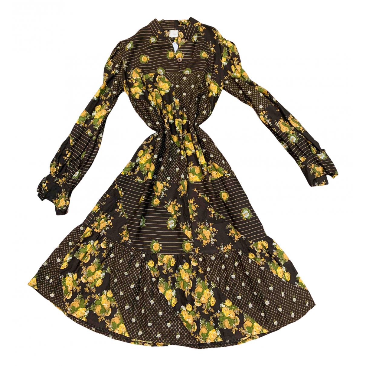 - Robe Manche ballon pour femme - multicolore