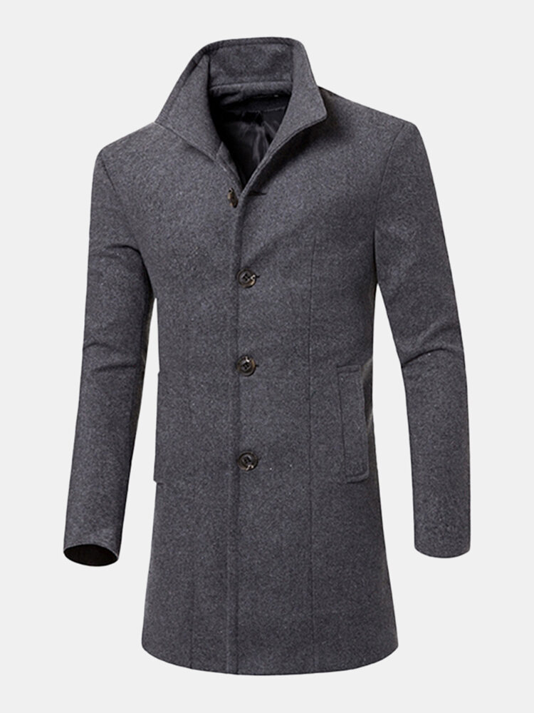 Mens Business Casual Solid Woolen Slim Fit Trench Coat