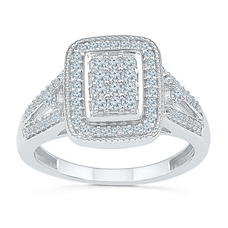 Womens 1/2 CT. T.W. Genuine White Diamond 10K White Gold Engagement Ring, 7 , No Color Family