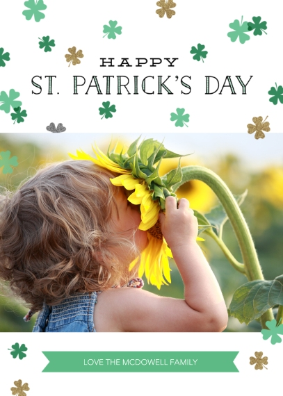St. Patrick's Day Cards Flat Glossy Photo Paper Cards with Envelopes, 5x7, Card & Stationery -Shamrock Shower