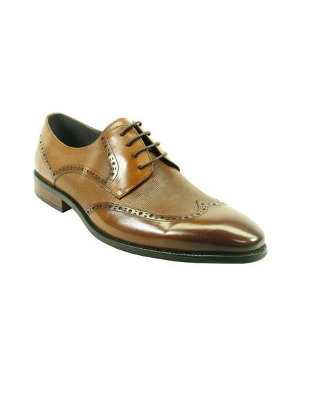 Mens Fashion Shoes by Carrucci - Lace-Up Cognac