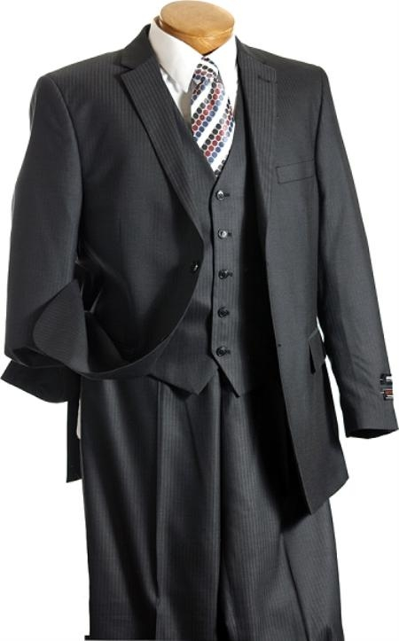 Mens 3 Piece Suit Charcoal Gray Light Weight Fabric 5 Button Vested