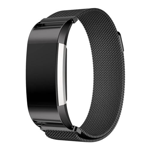 Replaceable Stainless Steel Metal Watch Band Strap For Fitbit Charge 2 - Black