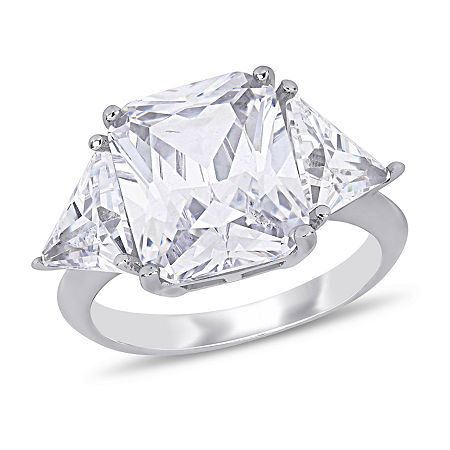 Womens White Cubic Zirconia Sterling Silver 3-Stone Cocktail Ring, 8 , No Color Family