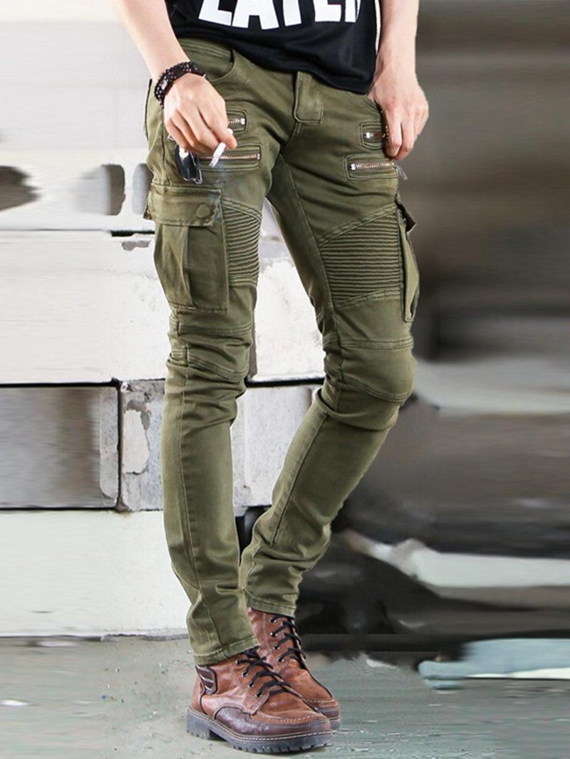 Ericdress Plain Pleated Zipper Mid Waist Men's Jeans