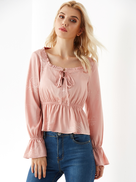 YOINS Pink Square Neck Ruffle Long Sleeves Blouse
