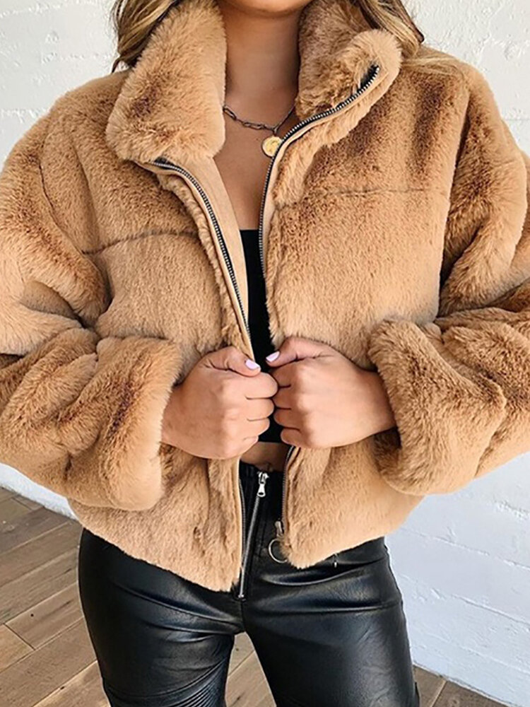 Plush Solid Color Lapel Long Sleeve Casual Coat For Women