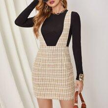 Tweed Kleid mit Reissverschluss hinten und Karo Muster