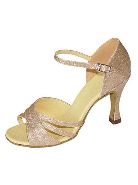 Milanoo Zapatos de bailes latinos de tela brillante Rosado ligeros de tacon de stiletto para baile de puntera abierta