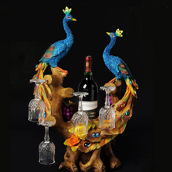 Beautiful Peacock Wine Rack and Bottle Holders