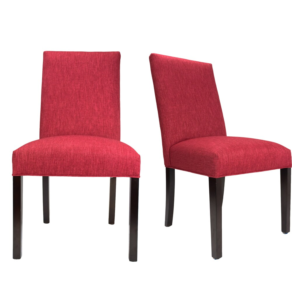 Key Largo Ruby Red Roll-Back Upholstered Dining Chairs (Set of 2) (Red - Set of 2)