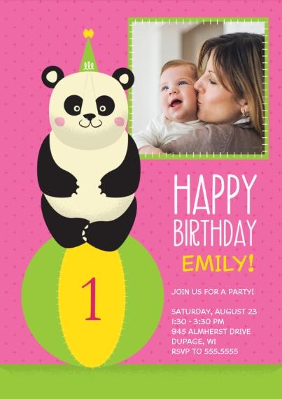 1st Birthday Invitations 5x7 Cards, Standard Cardstock 85lb, Card & Stationery -Panda 1st Birthday