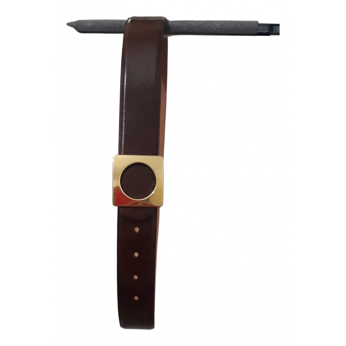 Non Signé / Unsigned N Brown Leather belt for Women 95 cm