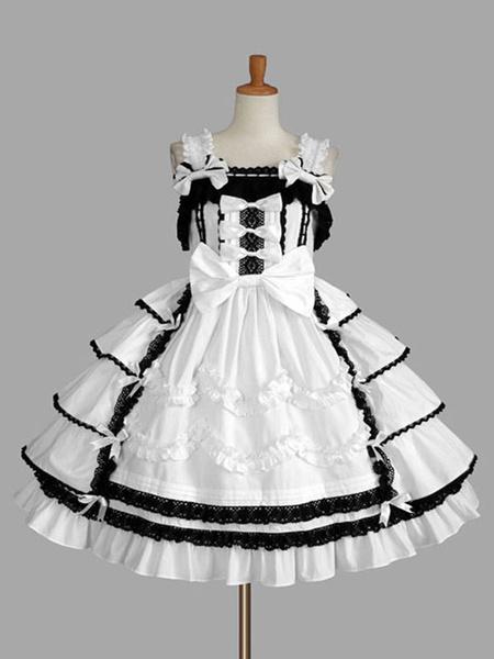 Milanoo Vestido clasico Lolita JSK Ruffles Faldas negras de Lolita Jumper
