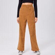 Corduroy Solid Pocket Pants