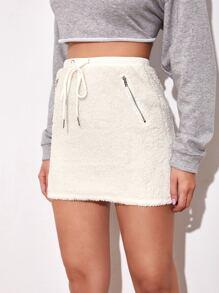 Drawstring Waist Zipper Detail Teddy Skirt