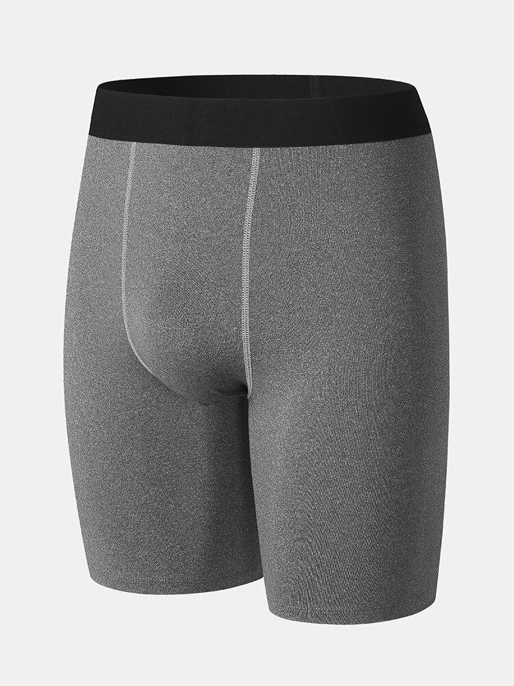 Plain Color Seamless Stitching Design Sport Running Stretch Shorts