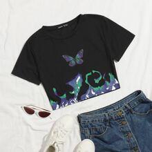 Camiseta corta con estampado de mariposa