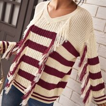 Drop Shoulder Cable Knit Striped Sweater