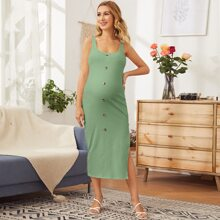 Maternity Button Detail Split Thigh Rib-knit Dress