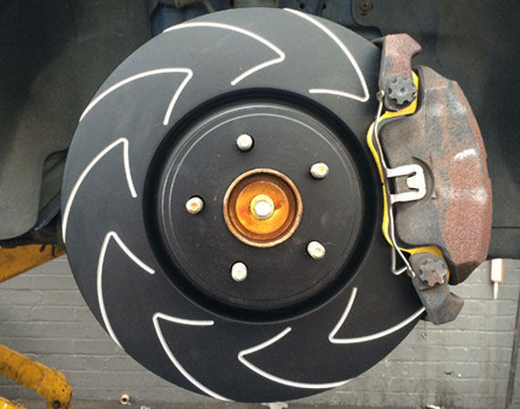 EBC Brakes BSD7216 BSD rotors with a V pattern, improves heat dispersion and helps pads run cooler.