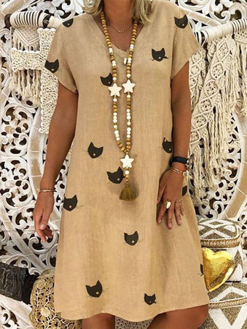 Ericdress Casual Knee-Length Print V-Neck Regular Dress