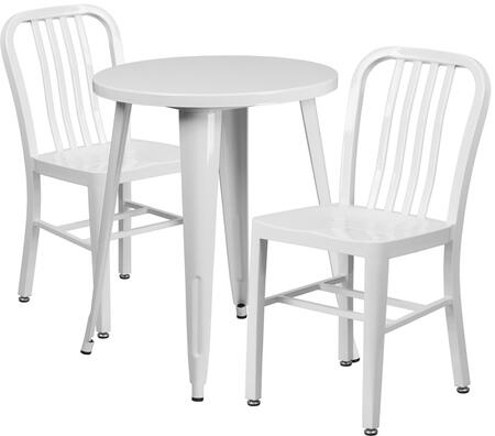 CH51080TH Collection CH-51080TH-2-18VRT-WH-GG 3 Piece Indoor-Outdoor Table Set with 2 Vertical Slat Back Chairs  Powder Coat Finish  Adjustable Floor