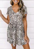 Leopard Ruffled V-Neck Mini Dress