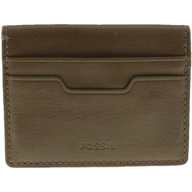 Fossil Mens Ellis Magnetic Card Case Leather Wallet - Green