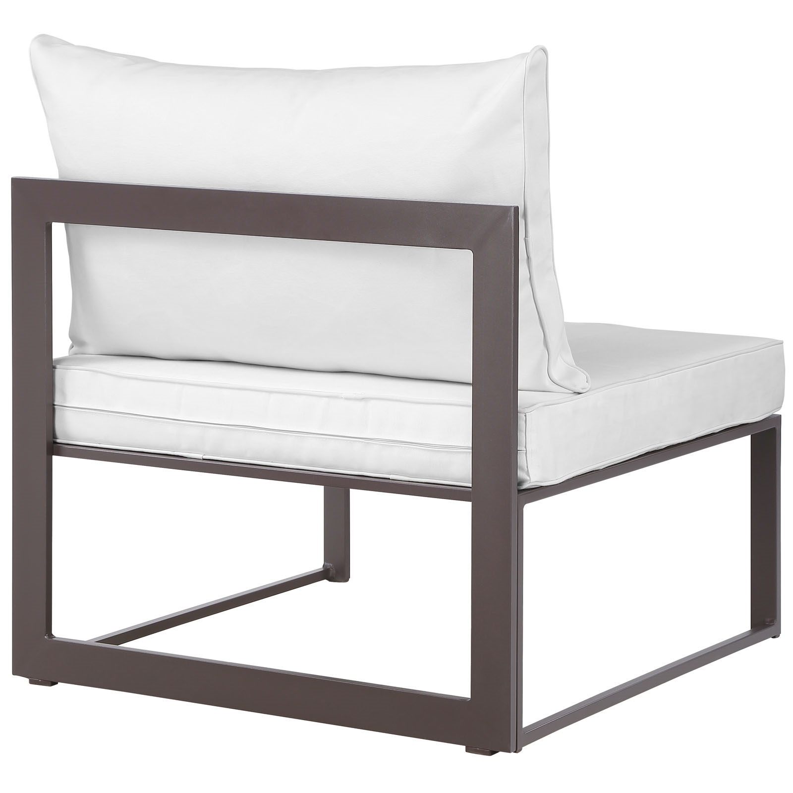 Fortuna Armless Outdoor Patio Chair in Brown White