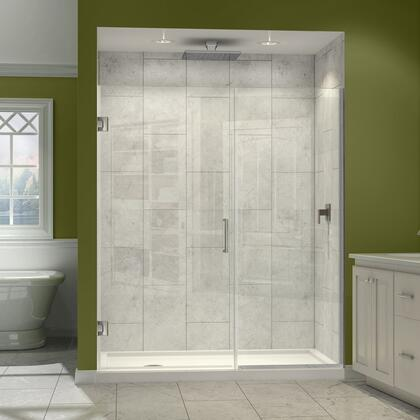 SHDR-245957210-04 Unidoor Plus 59 1/2 - 60 In. W X 72 In. H Frameless Hinged Shower Door  Clear Glass  Brushed