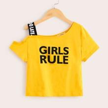 Girls Asymmetrical Neck Letter Tape Slogan Graphic Top
