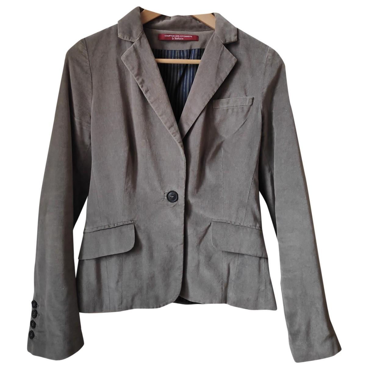 Comptoir Des Cotonniers - Veste   pour femme en velours - gris