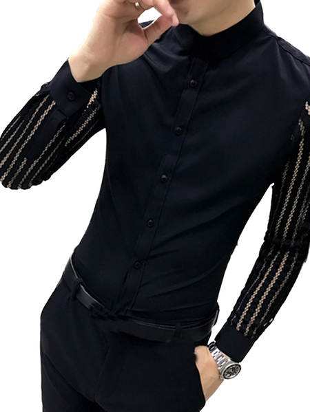Yoins INCERUN Men Casual Lace Sleeve Plain Hollow Slim Fit Long sleeve Shirt